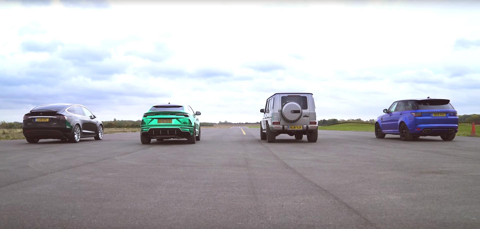 Quer ver como um Tesla Model X bate um Urus, um G63 AMG e um Range SVR?