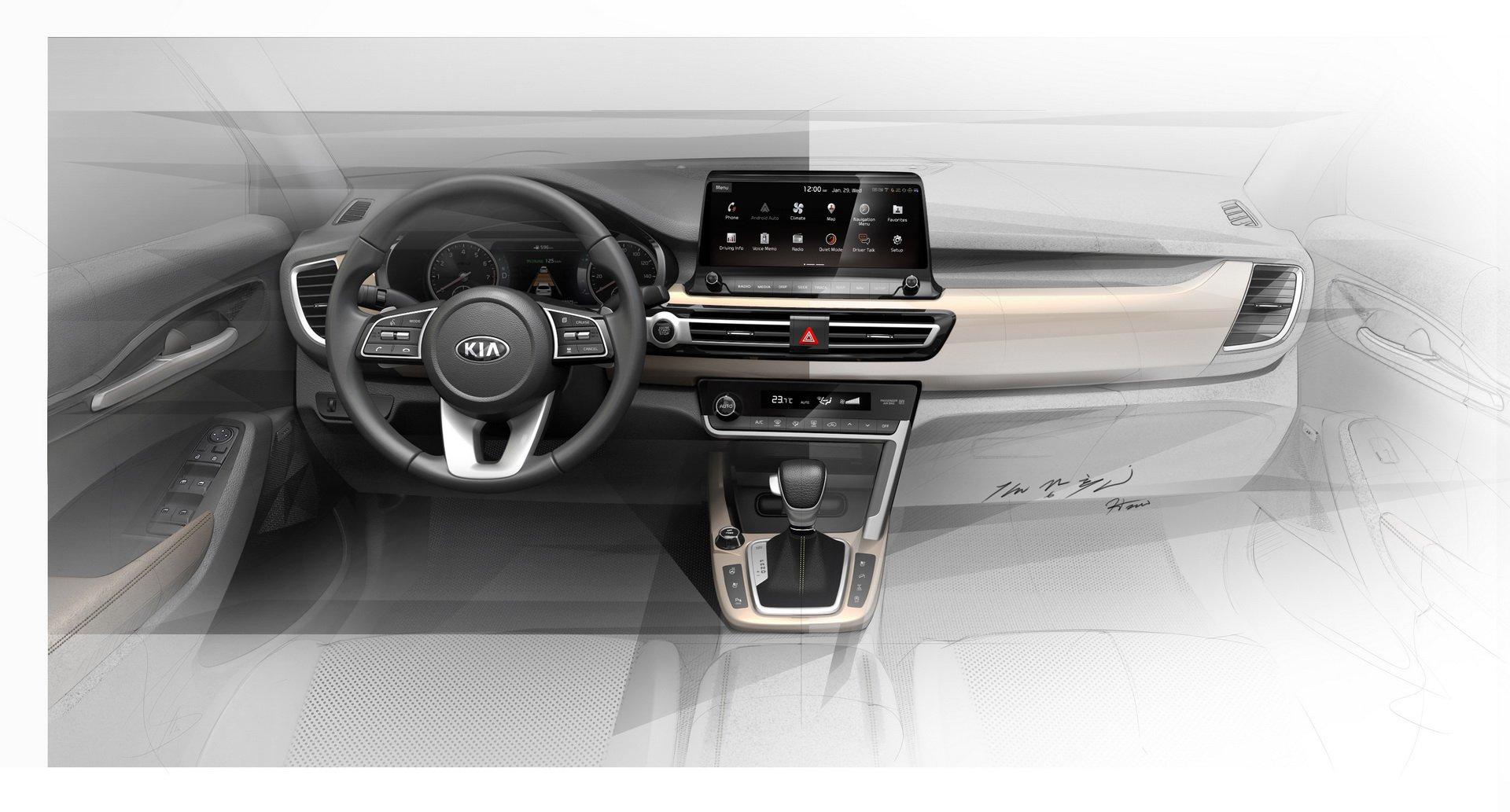Kia revela interior de novo SUV com desenhos originais