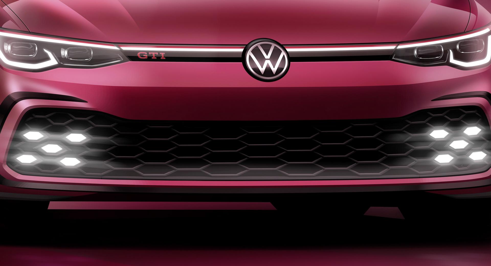 VW mostra a frente do novo Golf GTI que vai revelar em Genebra
